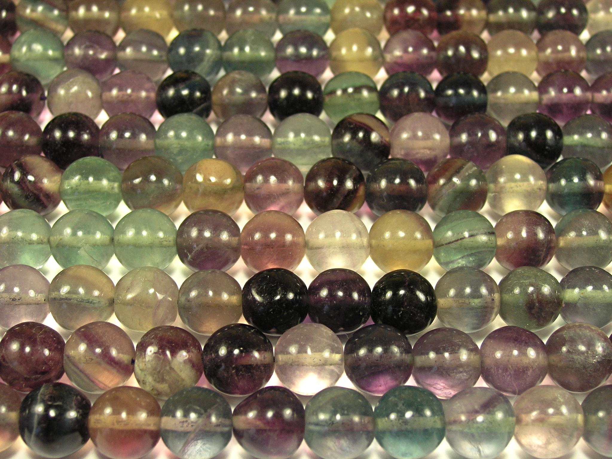 Нить бусин из флюорита радужного, шар гладкий 12 мм