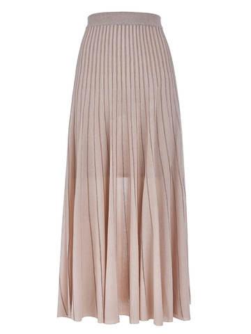 Женская юбка-плиссе бежевого цвета из вискозы - фото 1