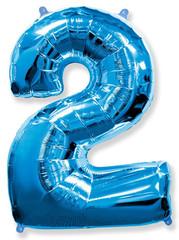 Воздушный шар (40''/102 см) Цифра, 2, Синий, 1 шт.