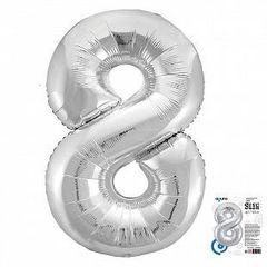 Р Цифра, 8, Slim, Серебро, в упаковке 40''/102 см,  1 шт.
