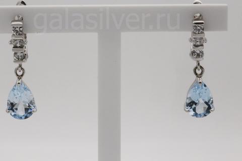 Серьги с топазом и фианитом из серебра 925