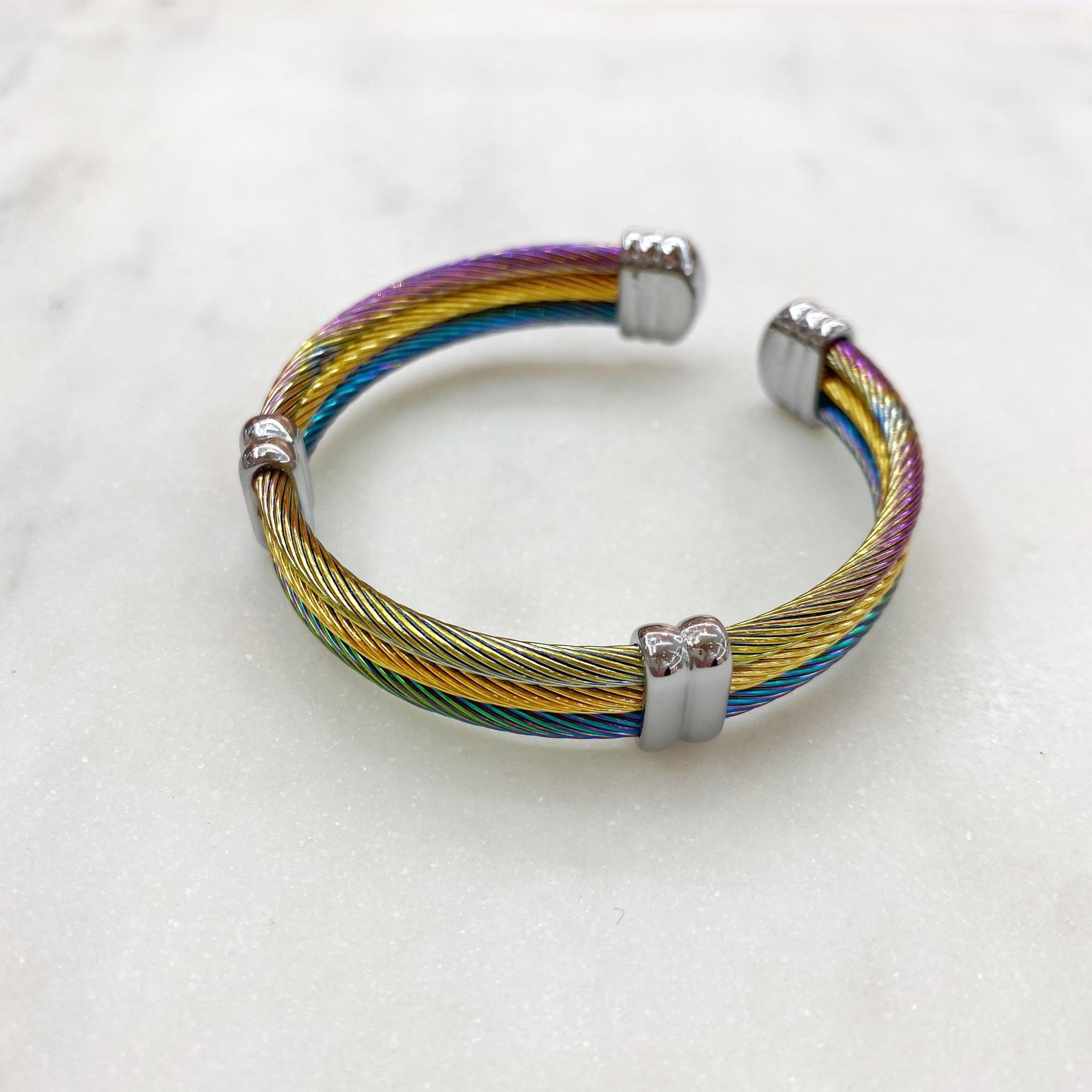 Браслет-обруч кабельный, сталь (мультицветный)