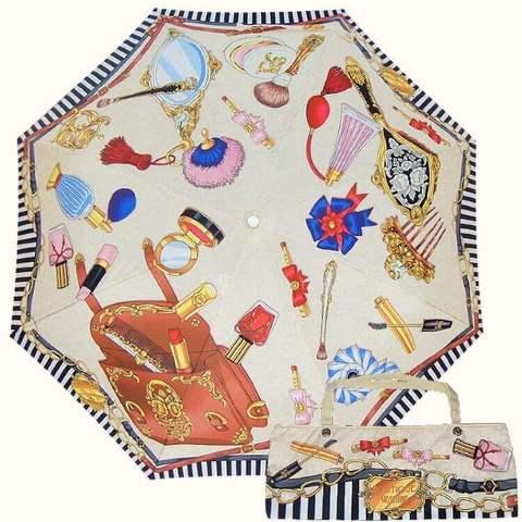 женский светлый зонт с сумочкой