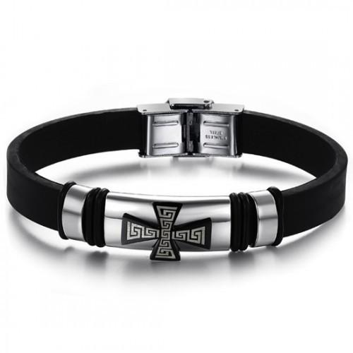 Интересный стильный мужской браслет из каучука и стали с чёрным крестом и греческим орнаментом на нём Steelman mn00175