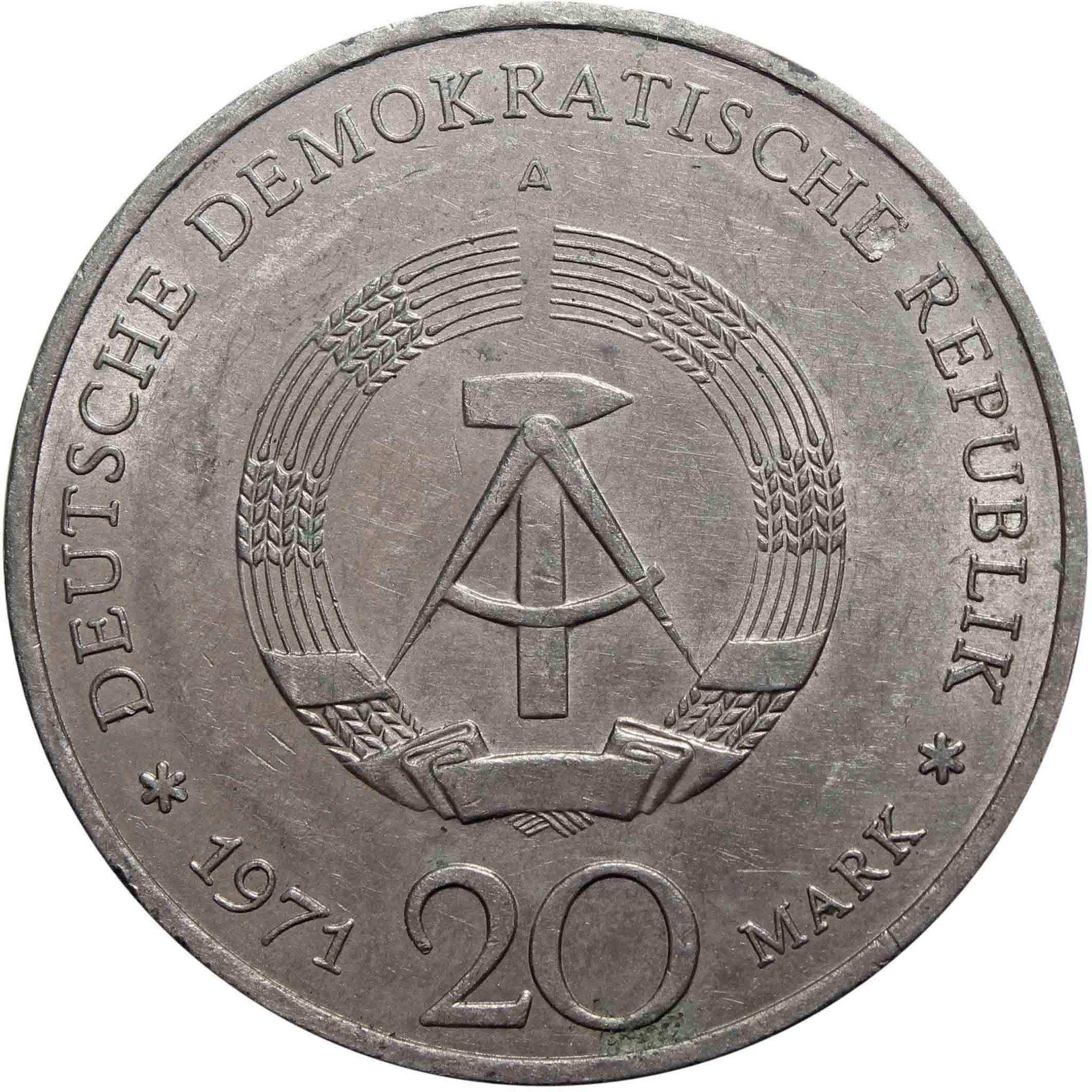 20 марок. (A) 85 лет со дня рождения Эрнста Тельмана. Германия-ГДР. Медноникель. 1971 год. XF