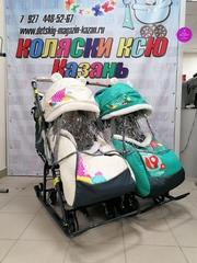 Санки-коляска для двойни NIKA KIDS 7-2 (Бежевый+Зеленый)