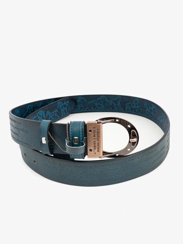 Ремень «Вольные кони» синего цвета