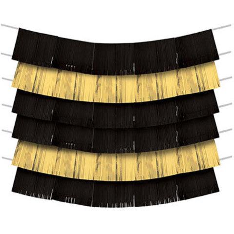 Гирлянда-бахрома Black&Gold150х25см9шт/А