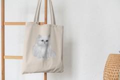 Сумка-шоппер с принтом Кот, Кошка, Котенок, Персидская (кошки) бежевая 006