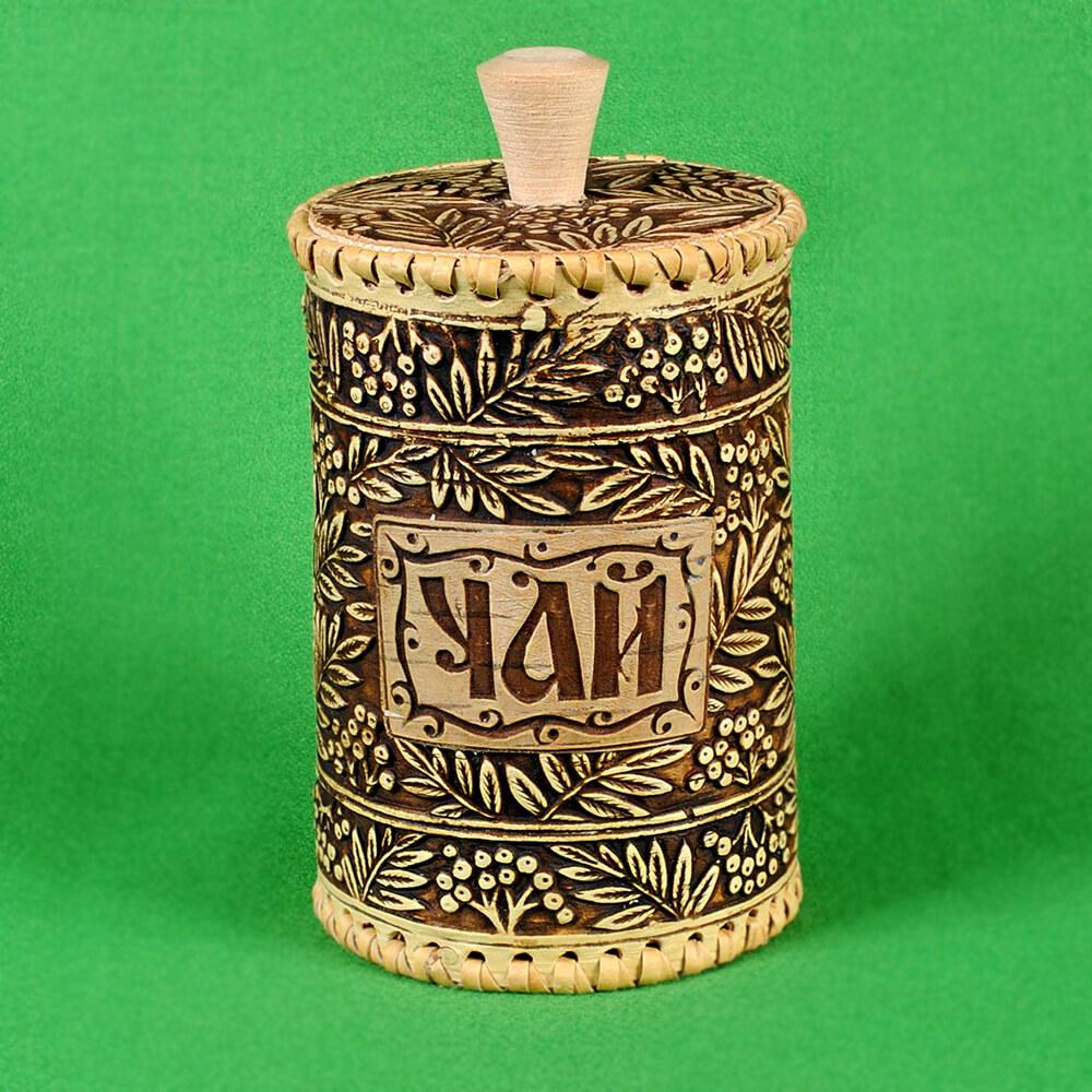 Туес чай рябинка малый, диаметр 8,5 см, высота 12,5 см, объём 0,5 л, вес 95 г  (Артикул 353) (чай-100гр,соль-600гр, сахар-400гр)