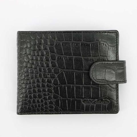 Портмоне S.Quire, натуральная воловья кожа, черный, фактурная, 11,4x9,2 см