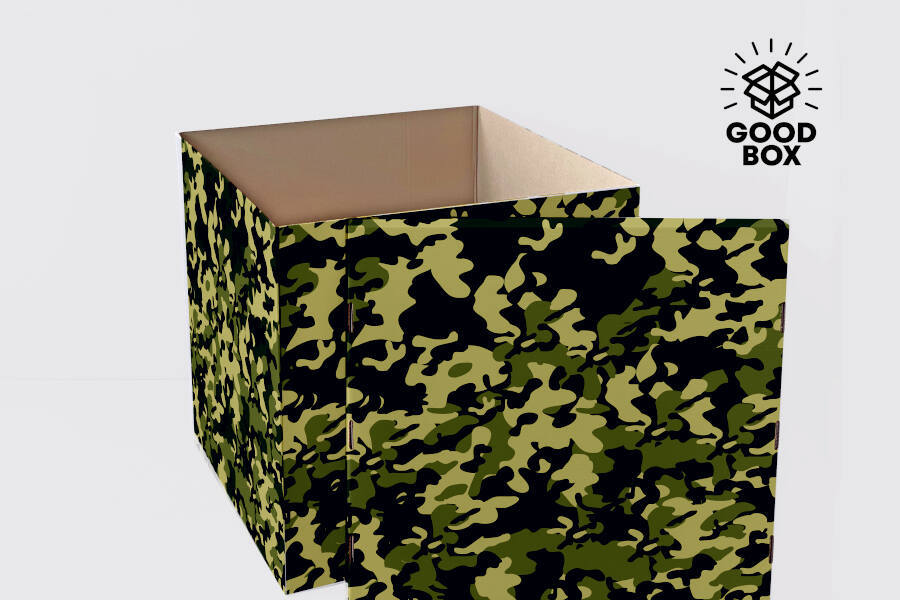 Большая коробка для шаров камуфляжного цвета купить в Алматы