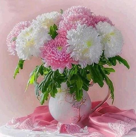 Алмазная Мозаика 50x65 Хризантемы в белой вазе