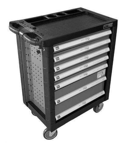 Тележка инструментальная, 7 ящиков, набор инструмента 196 пр-тов, цвет серый, SPIN
