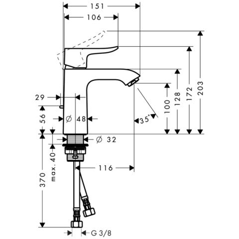 Смеситель для раковины Hansgrohe Metris 110  31080000 схема