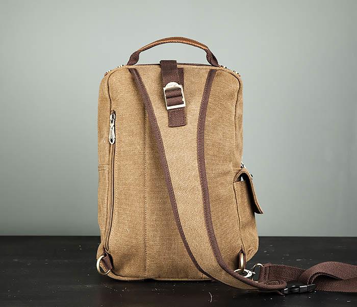 BAG394-2 Коричневый городской рюкзак с одной лямкой через плечо фото 06