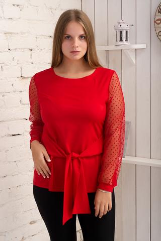 Іветта. Блуза Pluse Size з прозорим рукавом. Червоний