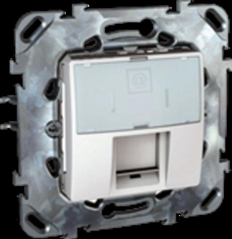Розетка Компьютерная розетка 1хRJ45 кат. 6е. Цвет Белый. Schneider electric Unica. MGU5.425.18ZD
