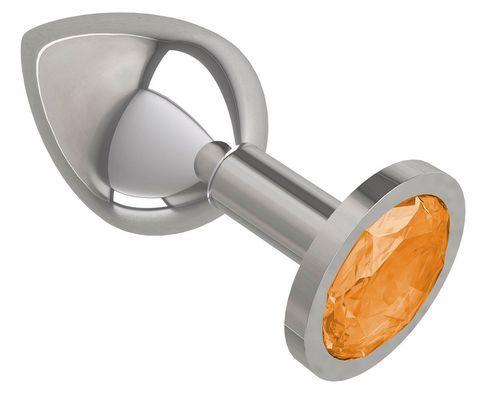 Серебристая средняя пробка с оранжевым кристаллом - 8,5 см.