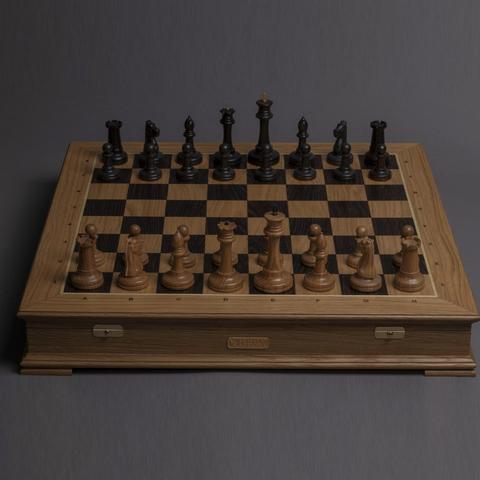 Шахматы «Стаунтон» классические - светлый дуб / мореный дуб