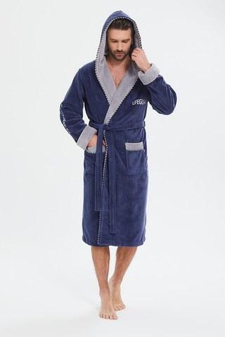 Мужской махровый халат из бамбука Lifeguard 949 джинс PECHE MONNAIE