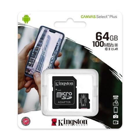Карта памяти Kingston microSDXC Canvas Select Plus 64GB Class 10 UHS-1 (с адаптером) (SDCS2/64GB)
