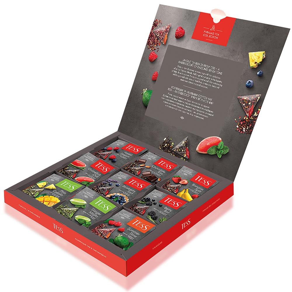 ТЕСС Подарочный набор  чая и чайных напитков 9 видов в пирамидках, пакетированный, 45 пакетиков, по 5 каждого вида