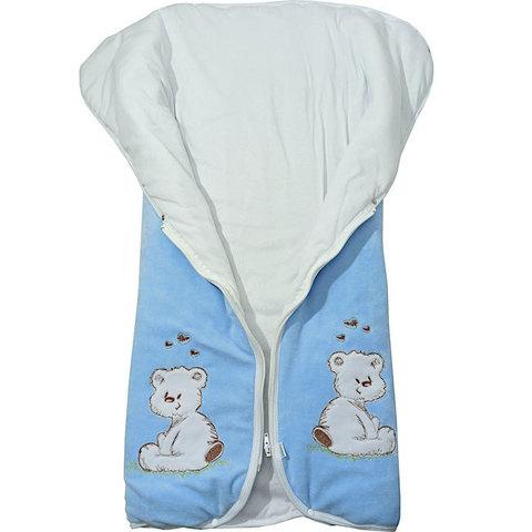 Папитто. Конверт-одеяло на молнии с вышивкой голубой