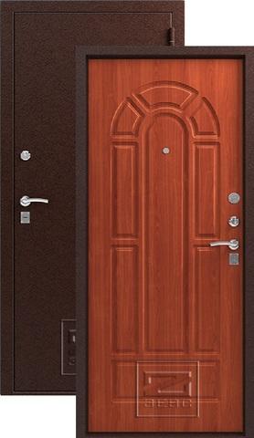 Дверь входная Зевс Z-4, 2 замка, 1,5 мм  металл, (медь+итальянский орех)