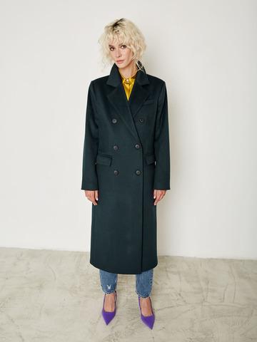 Пальто двубортное прямое из шерсти и кашемира изумруд