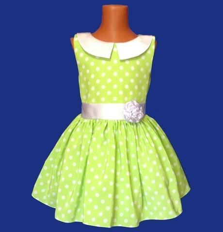 Платье салатовое в горох с воротничком