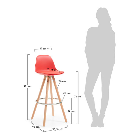 Барный стул Stag красный