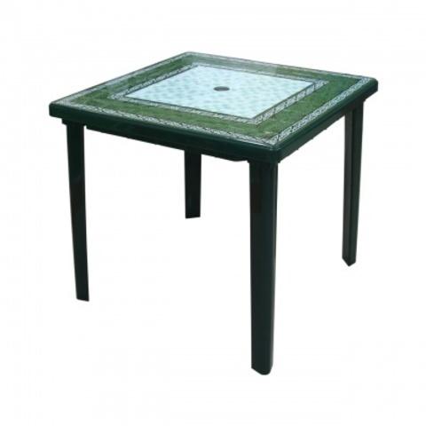 Стол Малахит квадратный пластиковый 800х800х740мм темно-зелёный