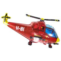 Фольгированный воздушный шар Вертолет. Красный.