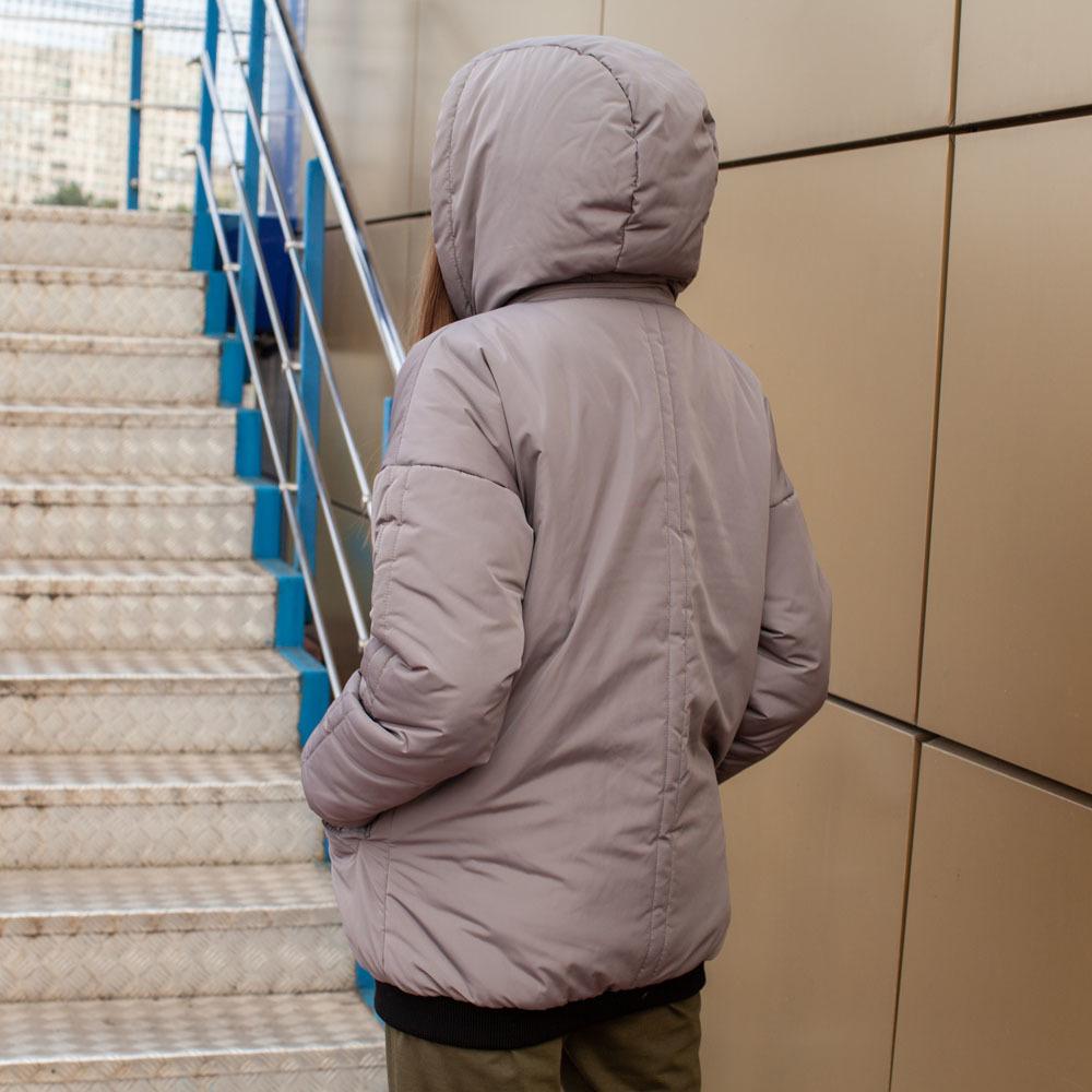 Демісезонний бомбер сірого кольору з водовідштовхувальної плащової тканини на дівчинку