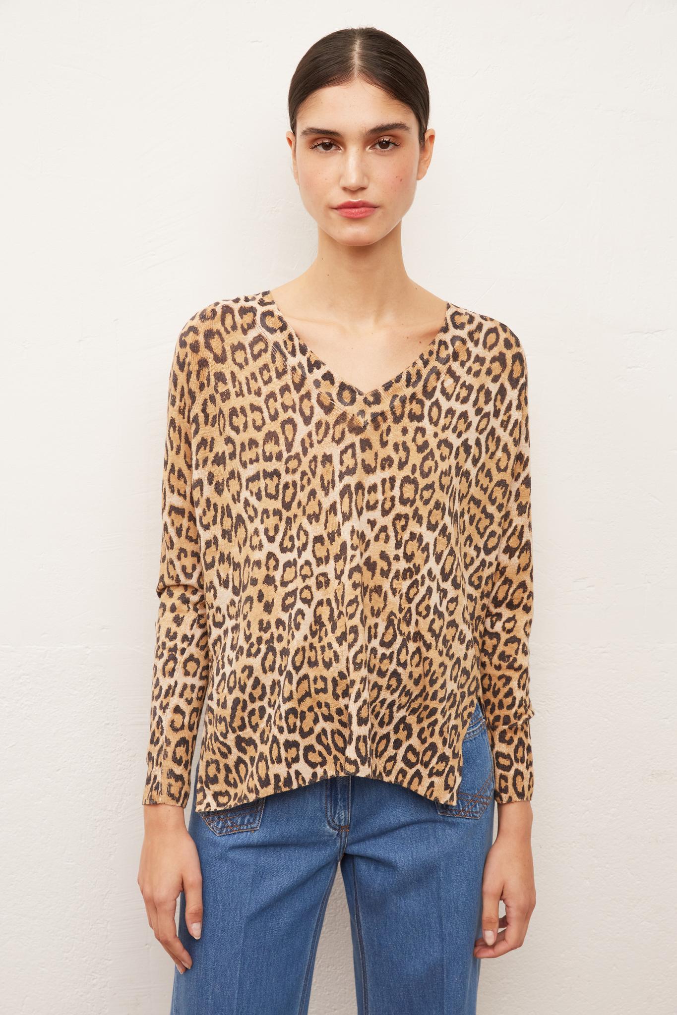 Пуловер с леопардовым принтом