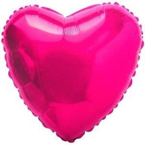Фольгированный воздушный шар сердце, фуше , 46 см