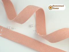 Лента вельвет двухсторонний персик 25 мм