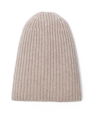 Женская шапка бежевого цвета из шерсти и кашемира - фото 2