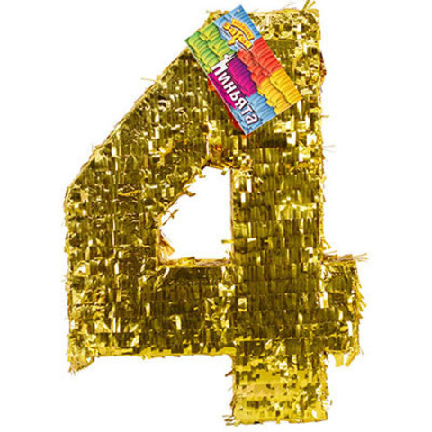 Пиньята Цифра 4 Золото