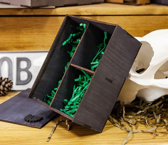 BOX245-1 Деревянная подарочная коробка с тремя отделениями, А6 (19*15*8,5 см) фото 03
