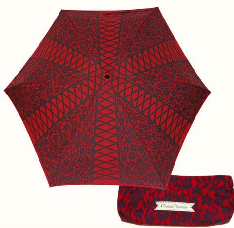 Красный мини зонтик с черным кружевом