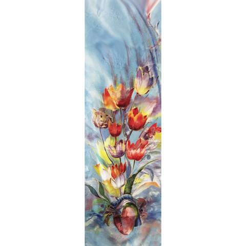 Шелковый шарф батик Сердце
