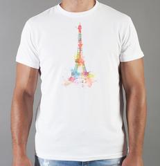 Футболка с принтом Париж, Франция, Эйфелева башня (France/ Paris) белая 009