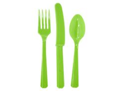 Столовые приборы пластик  Светло-Зеленый (Лайм) / Kiwi Green / 24 шт.