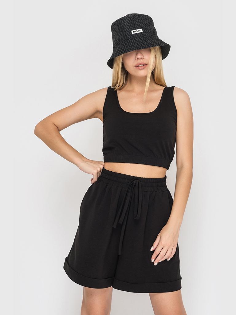 Костюм трикотажный (шорты и топ) черный YOS от украинского бренда Your Own Style