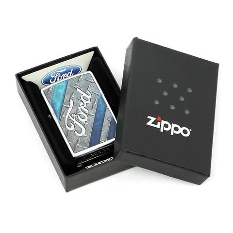 Зажигалка Zippo Ford, латунь с покрытием Satin Chrome, серебристый, матовая, 36х12x56 мм