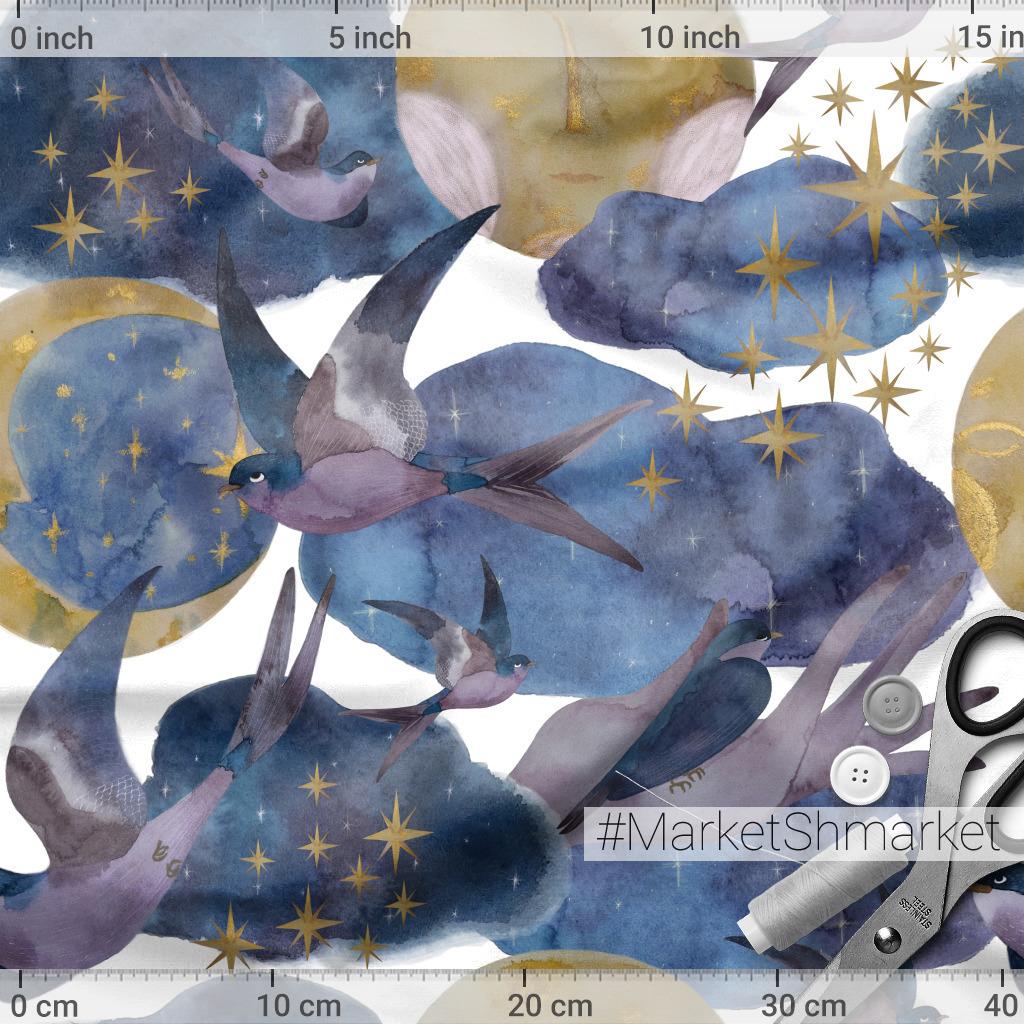 Ласточки, месяц, луна, звёзды, облака Акварель