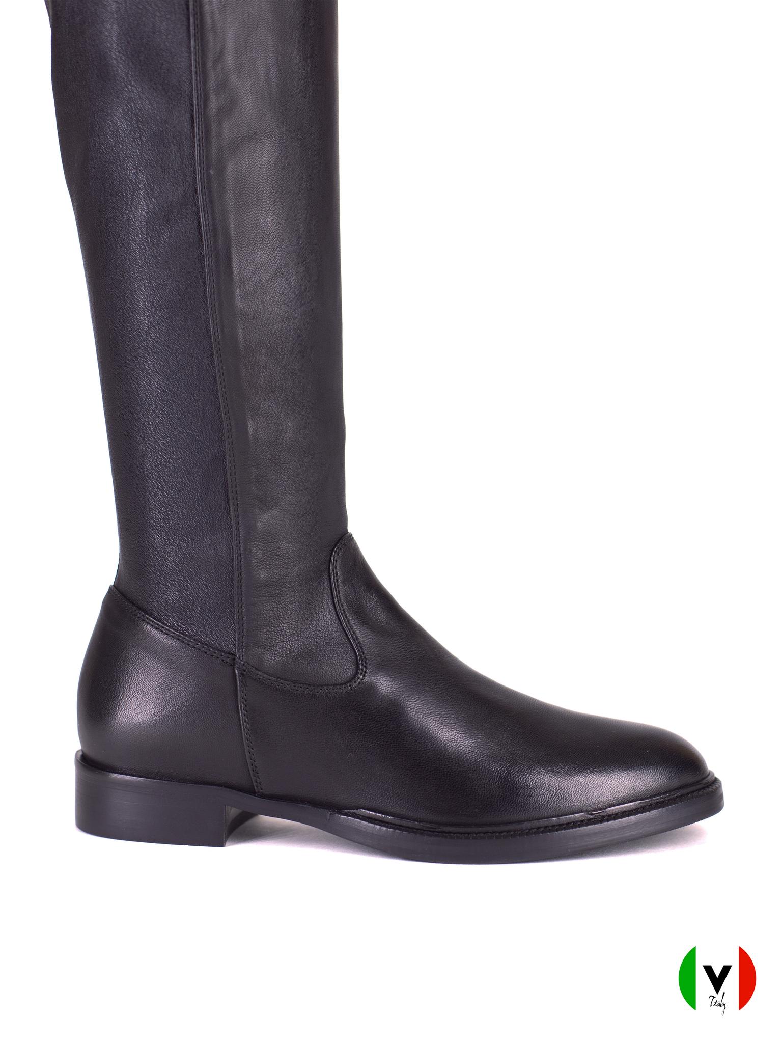 осенние сапоги ботфорты Fru.it, черные, кожаные, артикул 6547, цена 25500 руб.