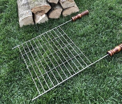 Плоская сетка на мангал с деревянными ручками 40х30 см